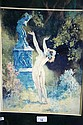 Norman Lindsay, colour print of a nude in the