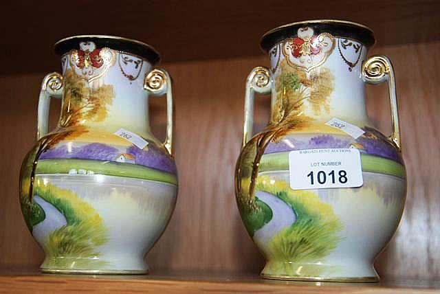 Pair of vintage Noritake double handled vases with