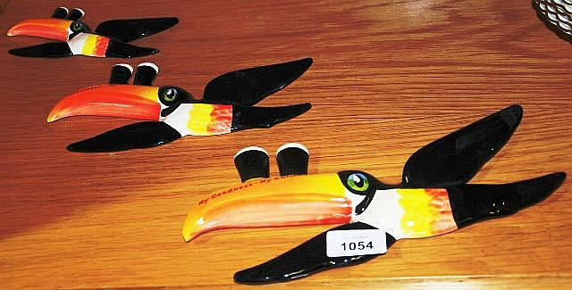 Set of 3 Carlton Ware flying Toucans advertising