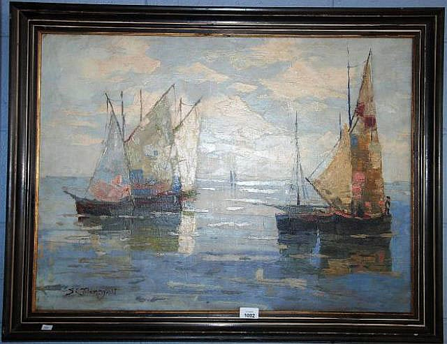 Sydney Lough Tompson oil on canvas, French fishing