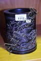 Carved Chinese hardwood brush pot with Heron &