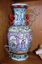 Large Chinese glazed vase, twin dragon handles,