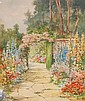 Oliver Brock, watercolour 'Cottage garden with