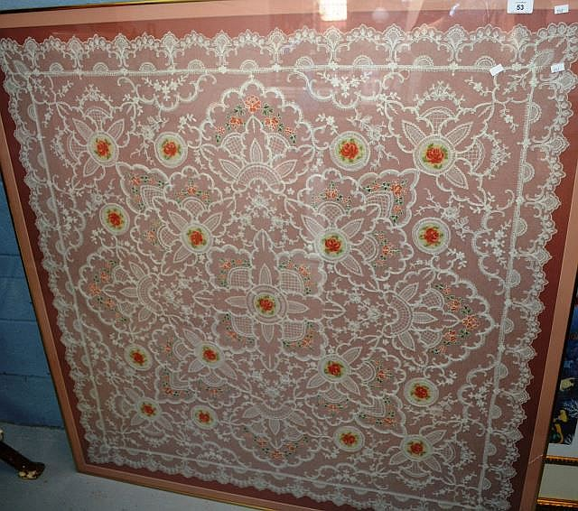 Large framed needlework table cloth with floral