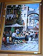 European oil on canvas, market scene, signed lower