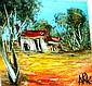 Pro Hart oil on board, 'Bush hut' signed lower
