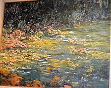 Mola, oil on board, riverbank scene, signed,