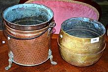 3 various planter tubs incl. embossed brass &