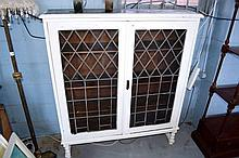 White painted bookcase, 2 door with lead glazed