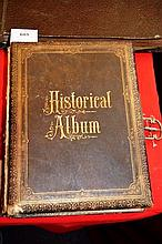 Antique photo album, many pages with illustrations