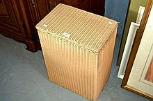 Vintage Lloyd Loom cream painted laundry hamper,