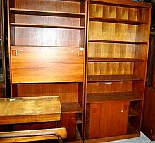 Pair of 1970s teak wall units with built in