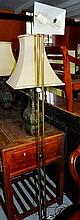 Brass standard lamp, adjustable shade, twin spots,