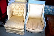 2 armchairs incl. a tub style,1 with grey painted