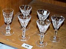 Set of 6 waterford crystal port glasses, 5 of 1 x