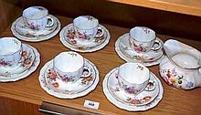 Set of 6 Royal Crown Derby trios 'Derby Posies',