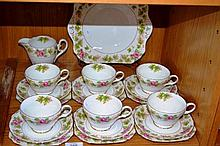 Set of 6 x Shelley trios, plus a cake plate & a
