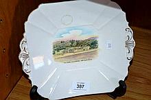 Shelley cake plate with a souvenir piece showing