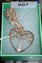 Heart shaped tree of life pendant on chain