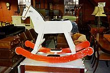 Vintage painted child's wooden rocking horse