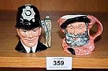 2 x miniature Royal Doulton character jugs,