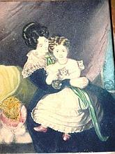 Antique aquatint of mother & child holding a