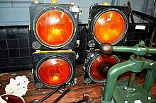 2 vintage AWA amber traffic lights, each twin spot