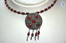 Ornate red beaded necklace