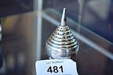 Antique sterling silver pear shaped pepper shaker,