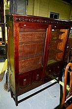 Tudor style oak bookcase, pair of glazed and