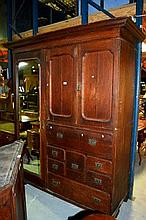 Antique oak wardrobe, single long mirrored door