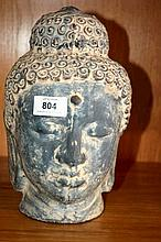 Terracotta Buddha head, height 25cm