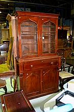 Antique mahogany bookcase, pair of glazed upper