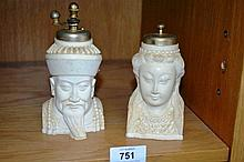 Pair of resin salt and pepper shakers, Chinese