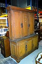 Antique Irish pine estate cupboard, 3 panelled