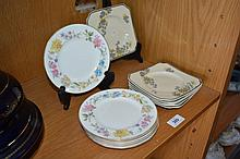 6 Royal Doulton square side plates 'Carnival' +