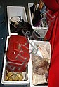 4 boxes containing linen, furs, purses, costume