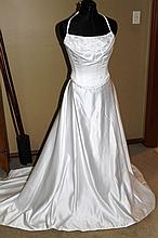 Wedding Dress. Brand New with tags, White satin gown with train,