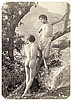 Gloeden, Wilhelm von: Two male nudes on tree trunk