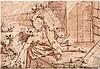 Deutsch: um 1580. Kampf eines Ungetüms mit einer allegorischen Figur