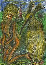 Höckelmann, Antonius: Kniende nackte Frau mit gelbem Vogel