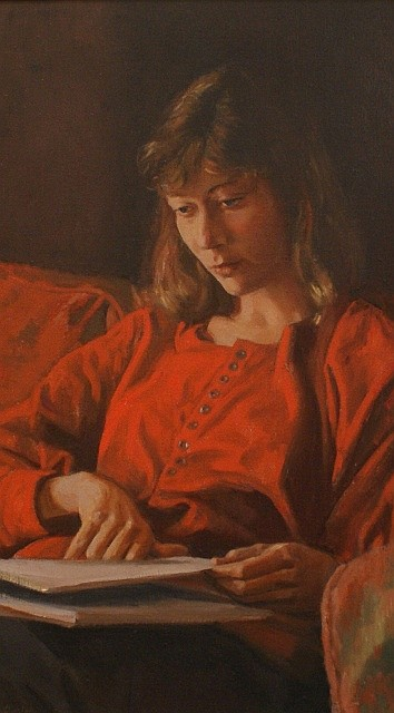 Brian Dunlop (1938-2009) Girl Studying oil on canvas