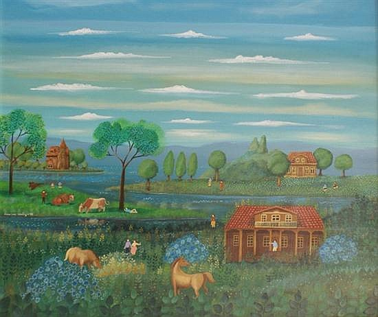 Francisco Alvarez (Belgian, born 1945) The Farm oil on board
