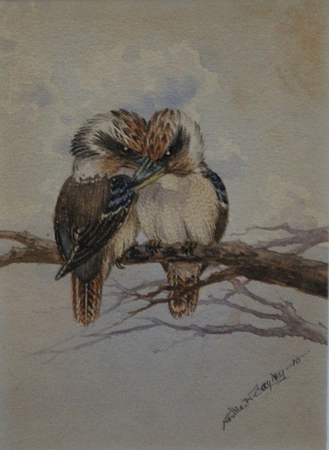 Neville William Cayley (1886-1950) Kookaburras 1910 watercolour