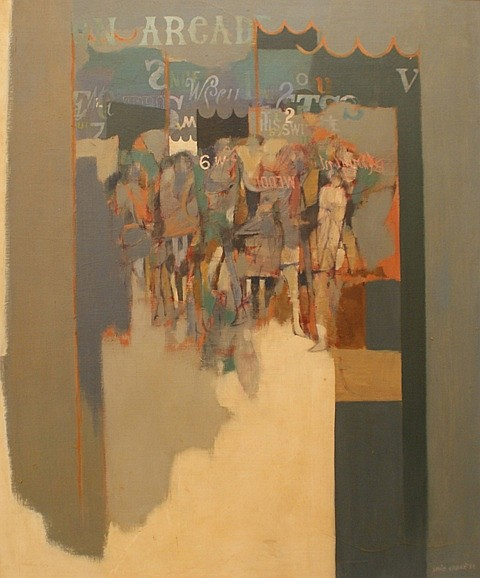 Louis James (1920-1996) Arcade 1968 oil on board