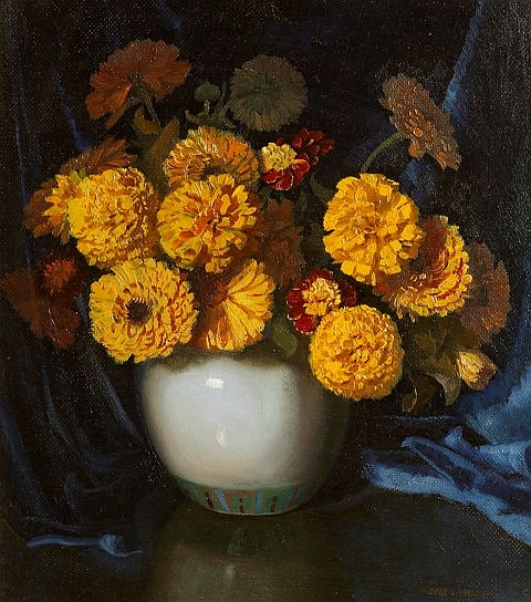 Albert Sherman (1882-1971) Marigolds oil on board