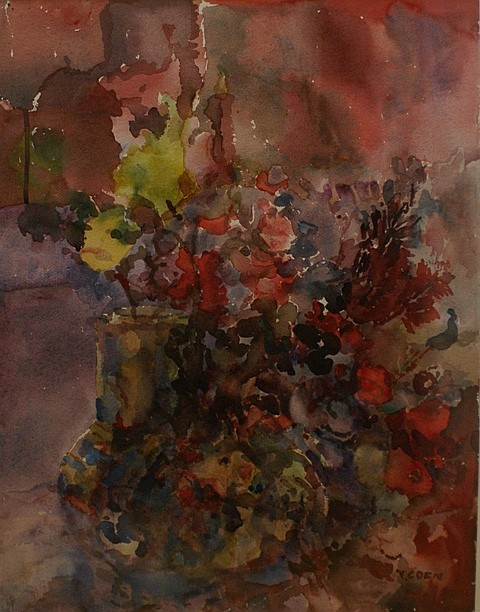 Margaret Coen (1913-1993) Red Sonata (circa 1990) watercolour