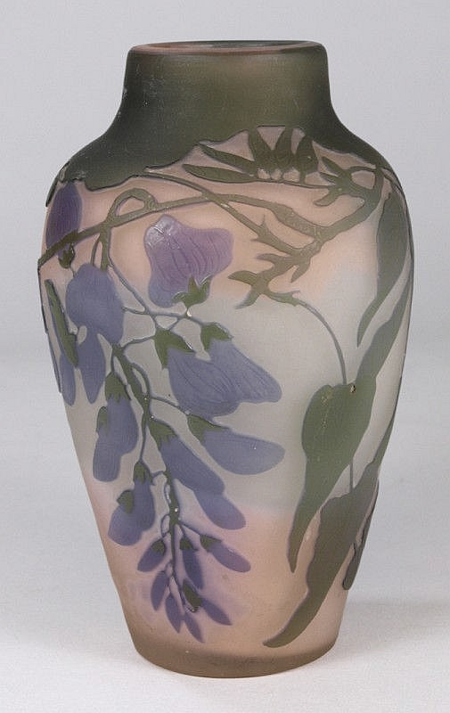 A Galle Wisteria pattern glass vase: (a/f)