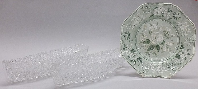 Two moulded glass Grace Darling cucumber boats