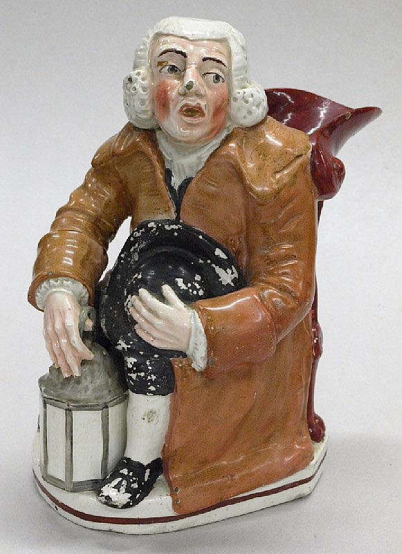 A night watch man jug, circa 1780:.